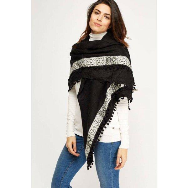 Дамски черен шал