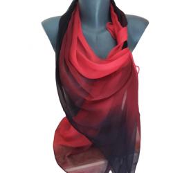 Червен омбре копринен шал