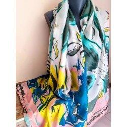 Многоцветен памучен шал