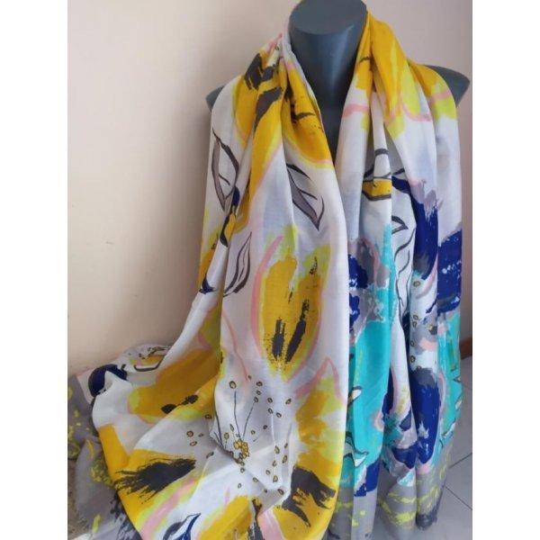 Памучен шал на цветя