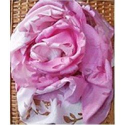 Шал омбре от коприна в розово и бяло