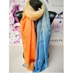 Синьо-оранжев омбре шал